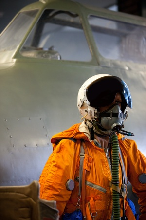 layman: mannequin in an orange jumpsuit of a military pilot Stock Photo