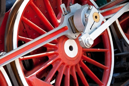 red wheel of an old steam locomotive photo