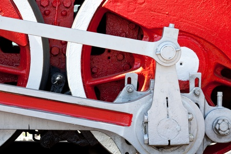 old engine wheel in red photo