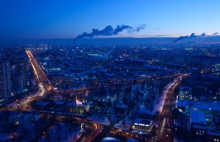 panorama of Moscow from the height of bird flight. winter evening photo
