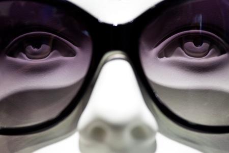 eyes dummy in sunglasses, close-up photo