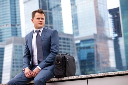 meditates: successful businessman meditates Stock Photo