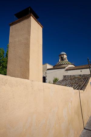ancient street of the old European town Tossa de Mar, Spain photo