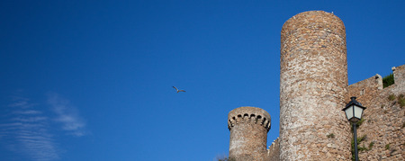 fragment of an ancient fortress on a background of blue sky with birds