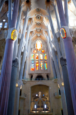 BARCELONA, SPAIN - JUNE 13  La Sagrada Familia -  the impressive cathedral designed by Gaudi, which is being build since 19 March 1882 and is not finished yet JUNE 13, 2013 in Barcelona, Spain   ISO640, grain