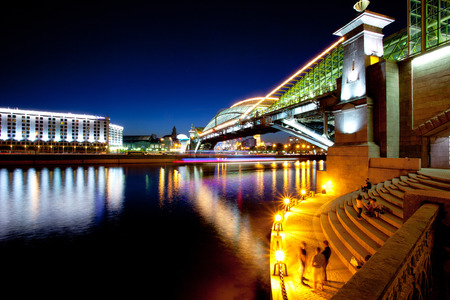 moscow city night landscape with a bridge over the river, 22 05 2014, editorial use only