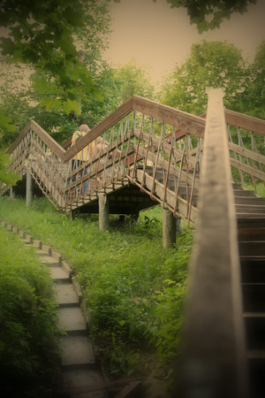 stairway: Romantic Landscape with Stairway in Park