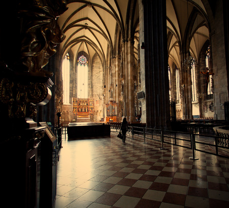 saint stephen cathedral: Interior of the Cathedral of St. Stephan in Vienna, Austria.s - JUNE 12: Stephansdom, built since 1221, symbol of Vienna and Austria. , instagram image style, Editorial use only
