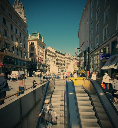 stephansplatz: Austria, Vienna 12.06.2013, escalator on Stephansplatz, Instagram filter style, editorial use only Editorial