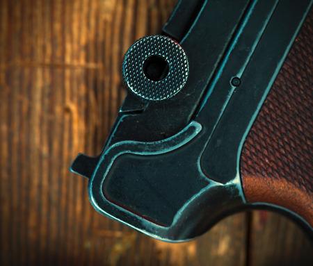 wehrmacht: fragment of an old Parabellum pistol. Luger close up.