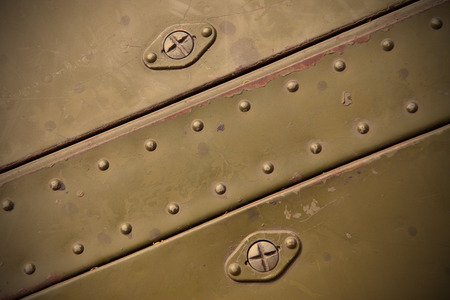 rivets: old  metal surfaces with rivets Stock Photo