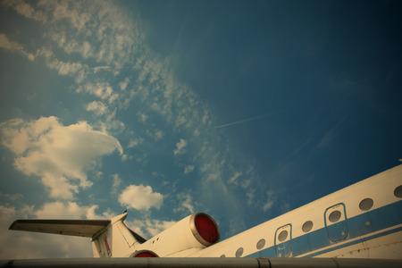 spar: Vintage Jet Plane on Background Blue Sky, Aircraft Transport, image style