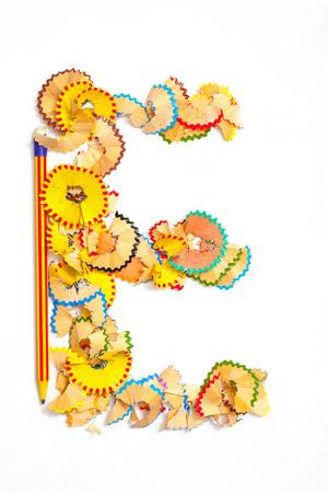letter e: Photo of Letter E from colored shavings on white background