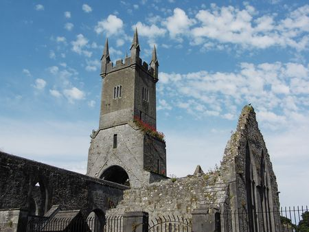 abbey ruins abbey: ruins of historic christain abbey located in ennis county clare, ireland