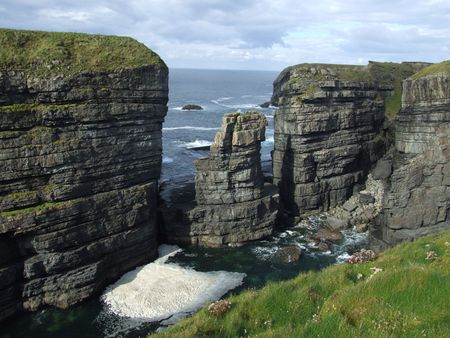 erode: Sea stack at Loop Head county Clare Ireland