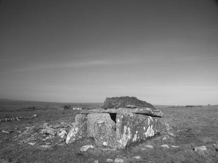 stoneage: Black and white shot of Megalithic tomb (Ireland)