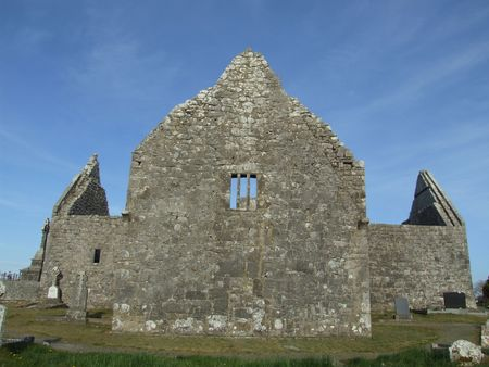 church ruins: Kilmacduagh church ruins dating to 10th century Ireland located in county Galway, Ireland Stock Photo
