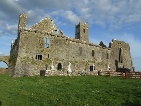 View of ruins of Quin abbey in the village of Quin, county Clare, Ireland Stock Photo - 907961