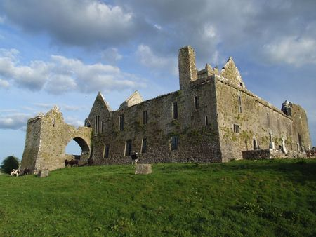 quin: View of rear of Quin abbey ruins in county Clare, Ireland