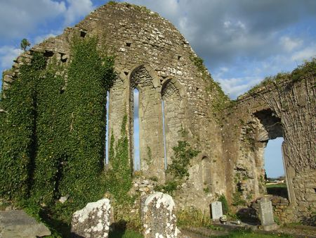 abbey ruins abbey: Church ruins in Quin abbey, county Clare Ireland