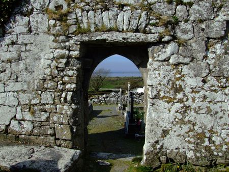 church ruins: 10th century church ruins entrance located in County Clare, Ireland