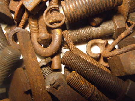buch: Close up of buch on rusty bolts, nails washers etc