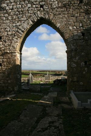 Historic church arch view dating to 10th century in west of Ireland Stock Photo - 2598284