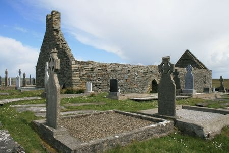church ruins: Old cemetery and old church ruins in Ireland Stock Photo