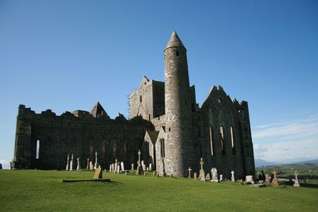 county tipperary: Historic church and round tower ruins in county Tipperary Ireland