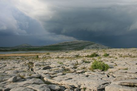 Thunderstorm building over Mullaghmore mountain in the Burren county Clare Ireland Stock Photo - 3122885
