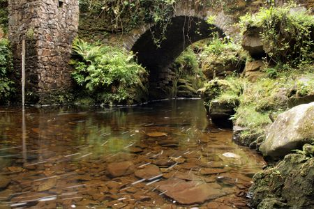 kerry: Beautiful small bridge over Torc river in county Kerry, Ireland Stock Photo