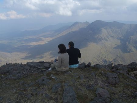 hillwalking: Mountain top lunch at summit of Carrauntoohil Irelands highest mountain in county Kerry