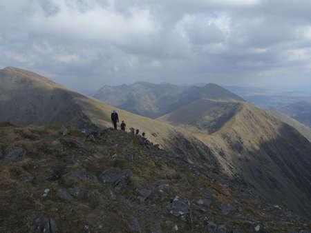 hillwalking: Hikers climbing Carrauntoohil Irelands highest mountain