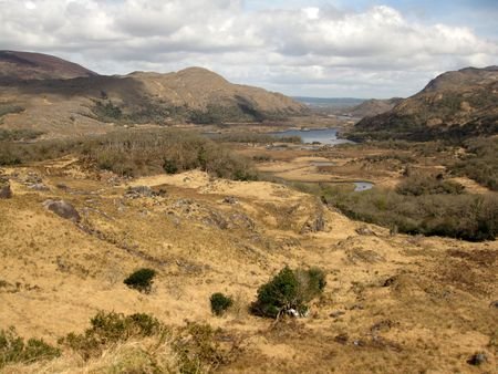 kerry: Scenic view location overlooking Killarneys lakes in county Kerry, Ireland. The area is know as Ladies view called after Queen Victorias visit to the area in 1861 Stock Photo