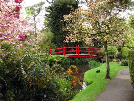 japenese: Hermoso peque�o puente en los jardines de Japenese en el condado de Kildare, Irlanda Foto de archivo
