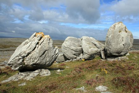 ice age: Large limestone bolders in The Burren in county Clare Ireland. The landscape was carved out by the last ice age