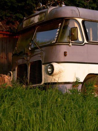 The front of an retired old tour bus photo