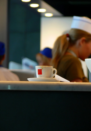 Espresso cup in a bar Stock Photo