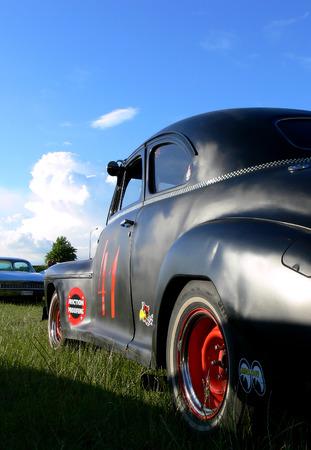 Classic black hot rod race car