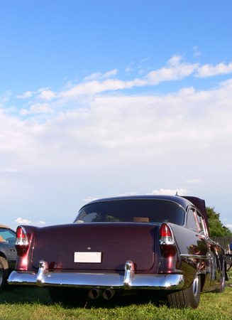 the rear end of a classic american car Stock Photo