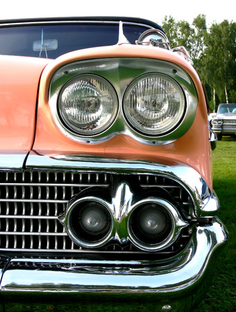 Lots and lots of chrome on this 50s american classic Stock Photo