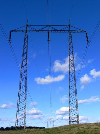 powerline: A powerline on a green field