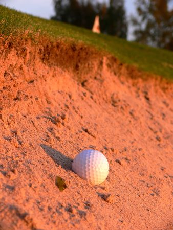 A golf ball in the green bunker close to the flag