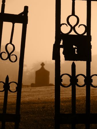 Closeup of the open gates to the old cemetary