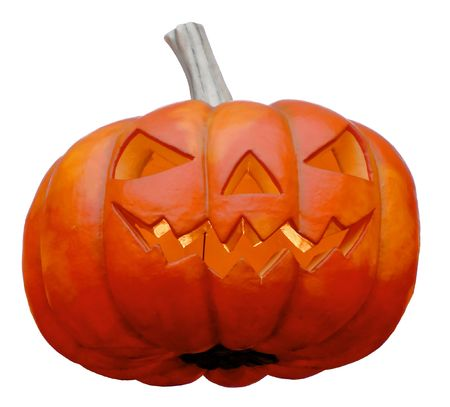 A big smiling halloween pumpkin isloated on white Stock Photo - 1950739