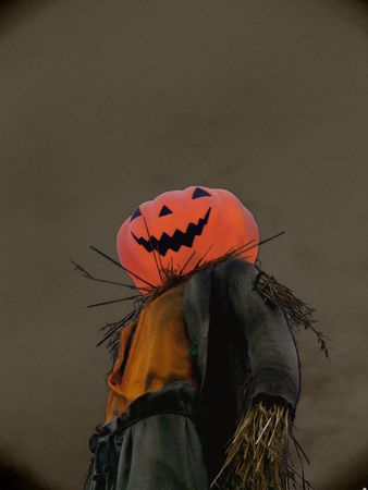 A scary  halloween pumkin scarecrow with a big moon in the background Stock Photo - 1950742