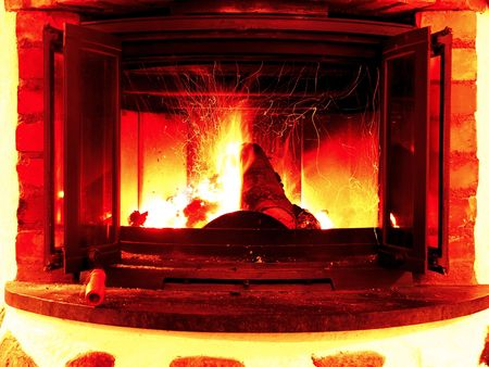 A burning fire in an indoor fireplace Stock Photo - 2369729