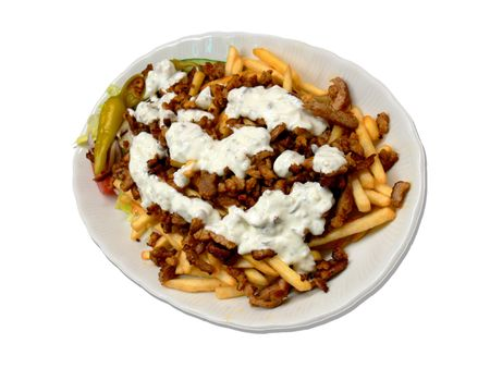 A plate full of spicy gyros and fries photo