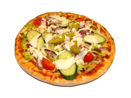 A gyros pizza with fresh sallad Stock Photo