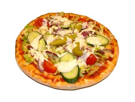 sallad: A gyros pizza with fresh sallad Stock Photo